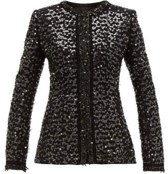 Andrew Gn Collarless Sequinned Boucle Jacket - Womens - Black