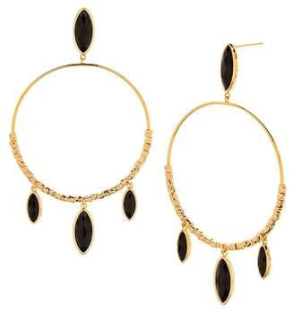Gorjana Palisades 18K Yellow Gold Plated Marquise Cut Black Onyx Hoop Drop Earrings