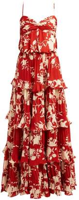 Johanna Ortiz Old Garden Ruffled Floral Print Silk Gown - Womens - Red Multi