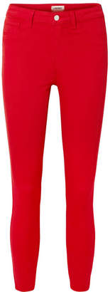 L'Agence Margot Cropped High-rise Stretch Skinny Jeans - Red
