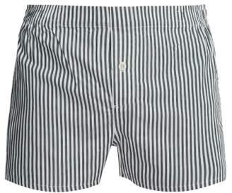 Hamilton And Hare - Striped Cotton Boxer Shorts - Mens - Green