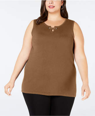 JM Collection Plus Size Sleeveless Grommet Shell