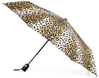 totes Automatic Umbrella -Black/Tan Leopard - Women's
