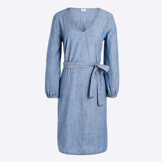 J.Crew Long-sleeve chambray tie-waist dress