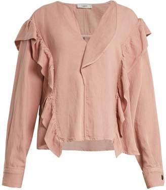 Etoile Isabel Marant Wally Long Sleeved Ruffle Trimmed Top - Womens - Light Pink