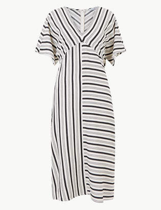 Marks and Spencer Cotton Blend Striped Shift Midi Dress