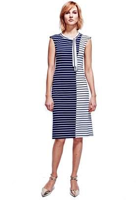 HotSquash - Navy & White Stripes Paris Bateau Dress In Easycare Fabric