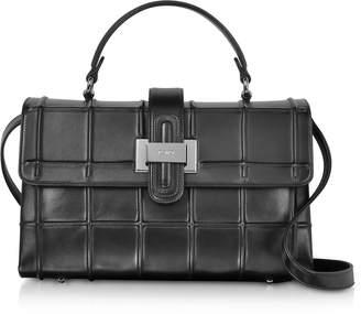 Rodo Black Nappa Leather Top Handle Satchel bag w/Shoulder Strap