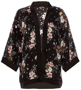 Quiz Black And Pink Satin Print Kimono
