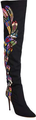 Aquazzura Mina Embellished Over-The-Knee Boots
