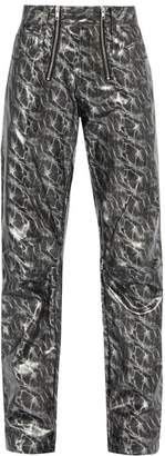 Gmbh - Thor Printed Tapered Leg Pvc Trousers - Mens - Silver