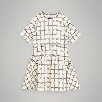 Burberry Piping Detail Flower Print Cotton Dress , Size: 3Y, Beige