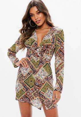 Missguided Orange Georgette Twist Front Paisley Print Shift Dress