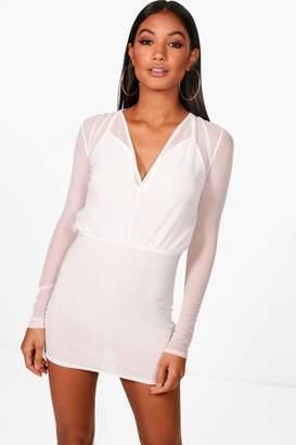 boohoo Mesh 2 in 1 Strappy Micro Mini Bodycon Dress