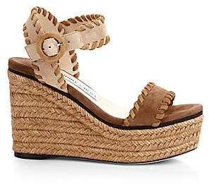730a83b4897d Jimmy Choo Women s Abigail Suede Whipstitch Platform Wedge Sandals