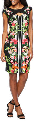 Melrose Sleeveless Stripe Floral Sheath Dress