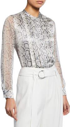 Elie Tahari Terri Snake-Print Button-Down Silk Blouse