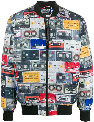 Love Moschino Cassette Tape print bomber jacket