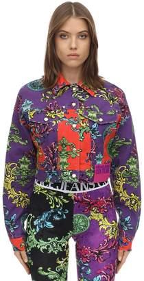 Versace Printed Cotton Denim Jacket