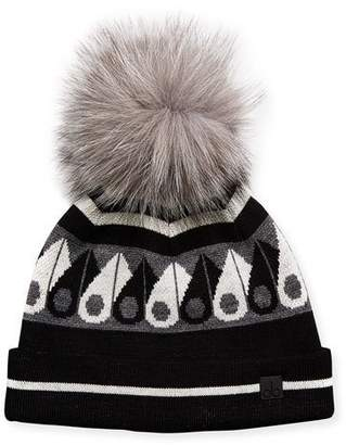 Moose Knuckles Moose Canuk Beanie Hat w/ Fur Pompom