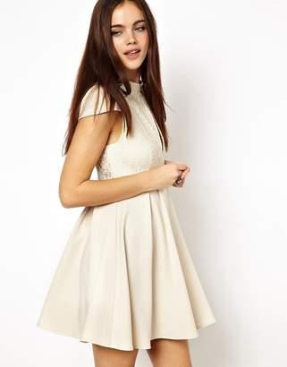 Ginger Fizz High Neck Lace keyhole Skater Dress