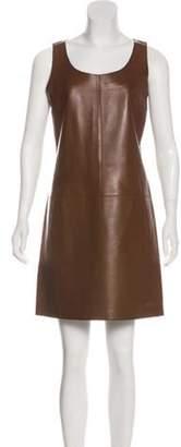 Michael Kors Leather Mini Dress Brown Leather Mini Dress