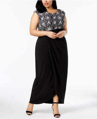 Connected Plus Size Draped Empire-Waist Lace Gown