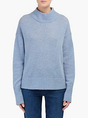 360 Sweater Lyla Polo Neck Cashmere Jumper, Stonewash