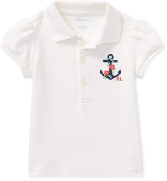 Polo Ralph Lauren Ralph Lauren Puffed-Sleeve Cotton Polo Shirt, Baby Girls