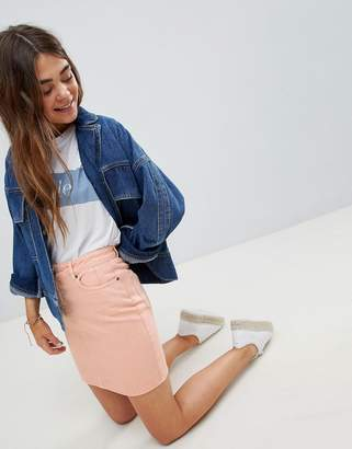 Asos DESIGN denim original skirt in apricot