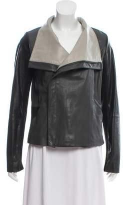 Vince Leather Knit-Trimmed Jacket