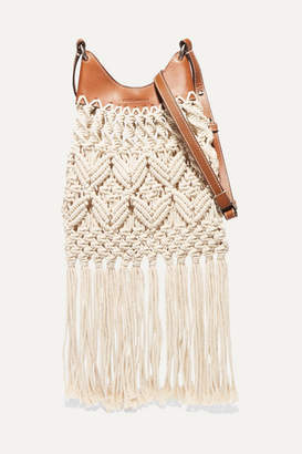Isabel Marant Small Fringed Macramé And Leather Shoulder Bag - Beige