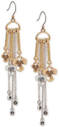 Lucky Brand Two-Tone Crystal Flower & Chain Fringe Drop Earrings