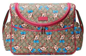 Gucci Deer & Rose Bud GG Supreme Canvas Diaper Bag