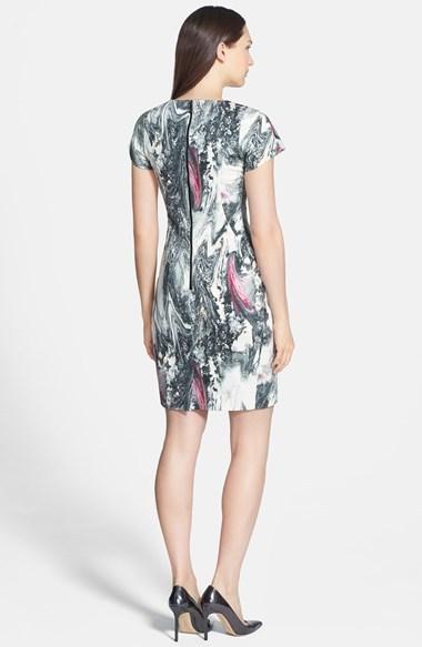 Rachel Roy Square Shoulder Jacquard Shift Dress