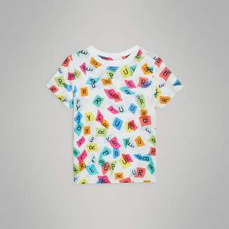 Burberry Confetti Letter Print Cotton T-shirt , Size: 4Y, White