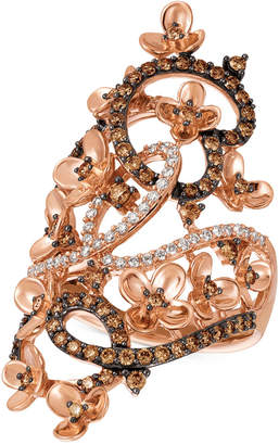 LeVian Le Vian Crazy Collection® Diamond Fancy Scroll Floral Ring (1-1/6 ct. t.w.) in 14k Rose Gold