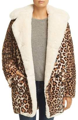 The Kooples Oversize Faux-Fur Leopard-Print Coat