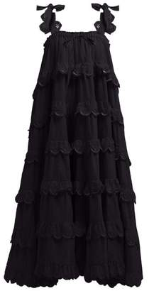Innika Choo Iva Biigdres Tiered Cotton Midi Dress - Womens - Black