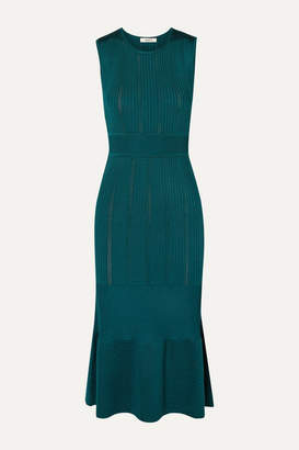 Jason Wu Ribbed Stretch-knit Midi Dress - Emerald