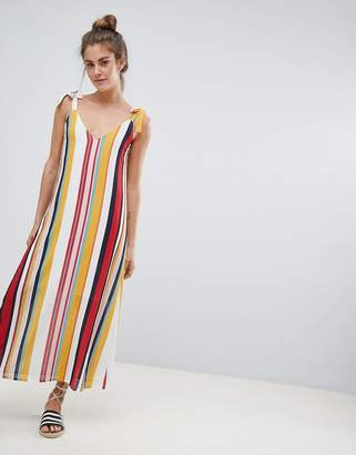 Pull&Bear v neck cami dress in multi stripe print