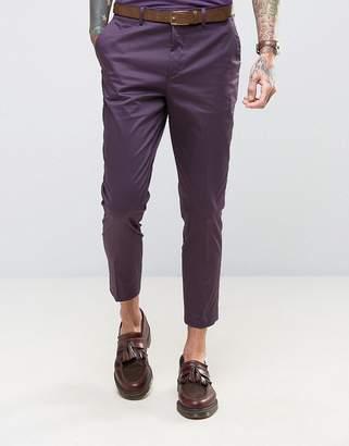 Devils Advocate Skinny Fit Purple Cotton Sateen Cropped Suit Pants