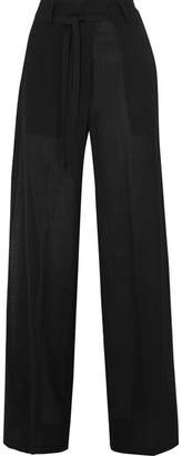 Ann Demeulemeester Wool-blend Voile Wide-leg Pants - Black