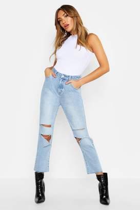 boohoo High Rise Ripped Denim Straight Leg Jean