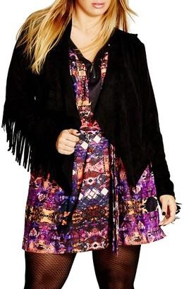 Plus Size Women's City Chic Faux Suede Fringe Jacket $99 thestylecure.com