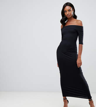 Asos Tall TALL Off Shoulder Maxi Dress With Popper Detail