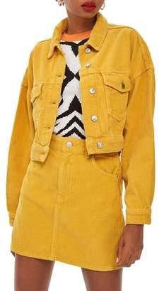 Topshop Cotton Corduroy Crop Jacket
