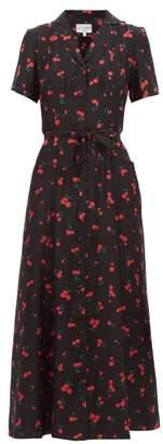 HVN Long Maria Cherry Print Silk Dress - Womens - Black Multi