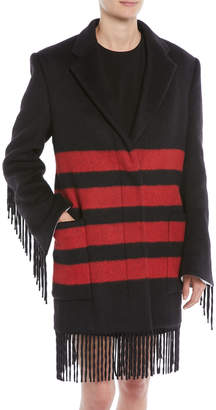 Calvin Klein Fringed Long-Sleeve Button-Front Striped Wool-Alpaca Coat