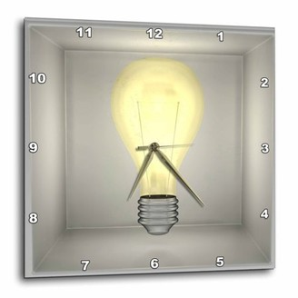 3dRose Light Bright Bright Light Bulb with glowing yellow high light affects, Wall Clock, 10 by 10-inch